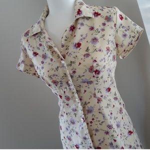 90s floral button up mini dress